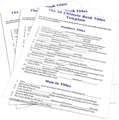 cookbook section titles 50 titles template ultimatebookcoach com