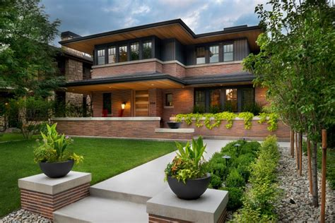 frank lloyd wright inspired house plans exterior frank lloyd wright inspired home with lush landscaping