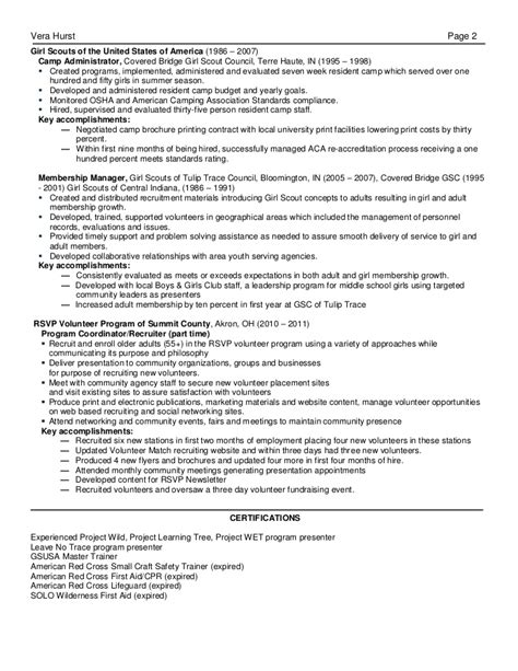 Recreation Manager Resume Linked In
