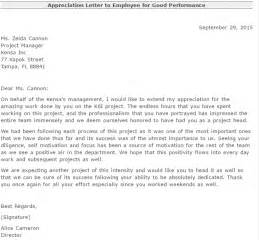 Appreciation Letter For Employee Performance Appreciation Letter For Good Performance Writing