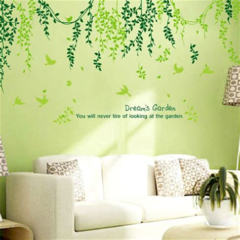 plant modern wall sticker green leaves curtain wall