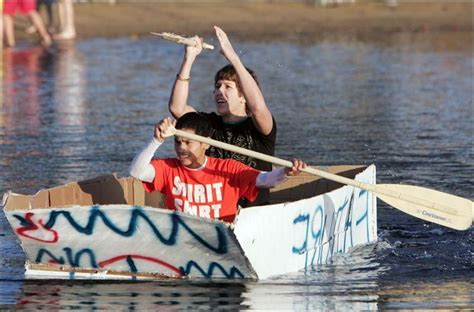 cardboard boat fails cardboard craft cruise olander to test southview mettle