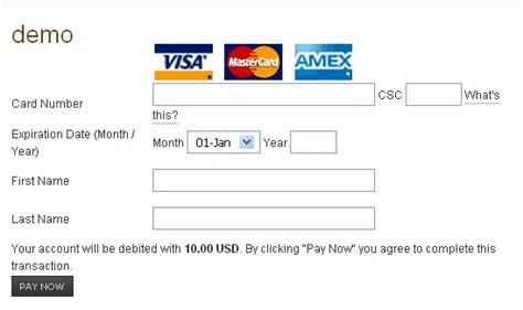 Template For Credit Card Details Rsmembership Authorize Net Plugin