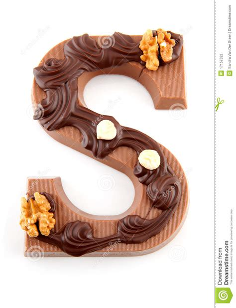 up letter to chocolate decorated chocolate letter s for sinterklaas stock photo