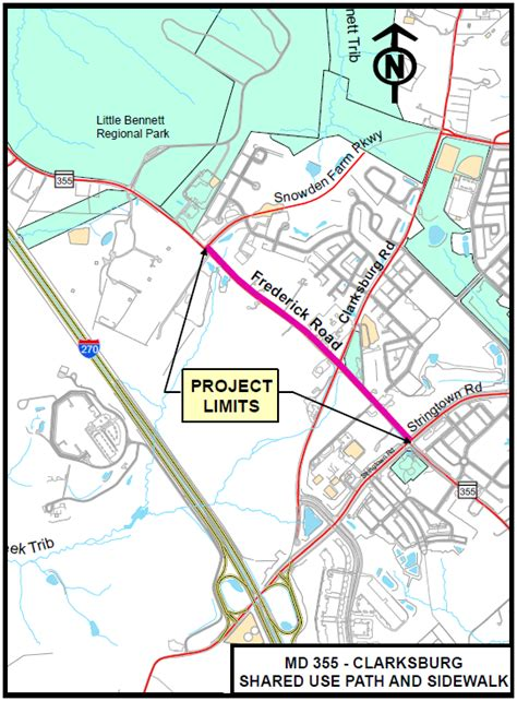 maryland bicycle map md 355 clarksburg shared use path