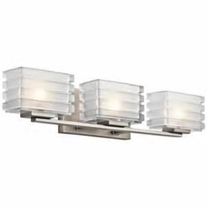 Contemporary Modern Bathroom Light Fixtures Kichler 45479ni Bazely Modern Brushed Nickel Finish 24