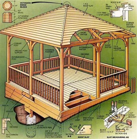 gazebo blueprints square gazebo plans and blueprints for a easy to build