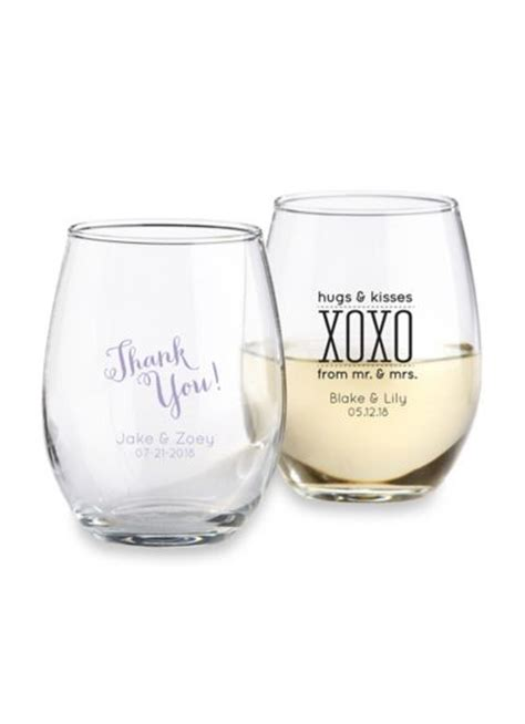 Wedding Gift Wine Glasses by Personalized Stemless Wine Glass David S Bridal