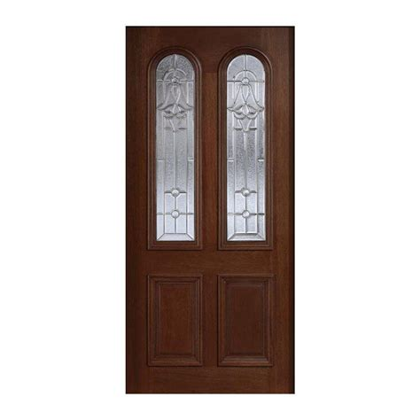 Solid Wood Front Door With Glass Door 36 In X 80 In Mahogany Type Prefinished Antique Beveled Zinc Arch Glass Solid