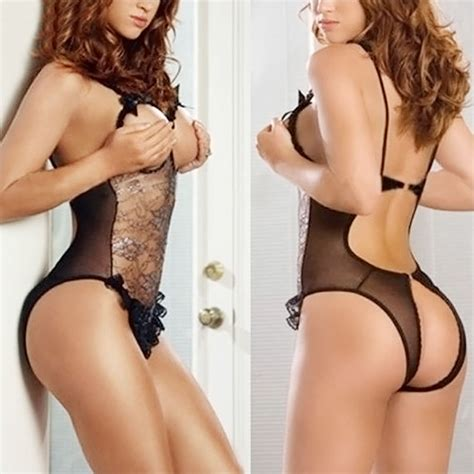 Lace Crotchless Thongs s sheer lace open bust crotchless bodysuit