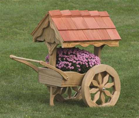 Wooden Cart Planter by Amish Wooden Rustic Garden Cart Planter Made In America
