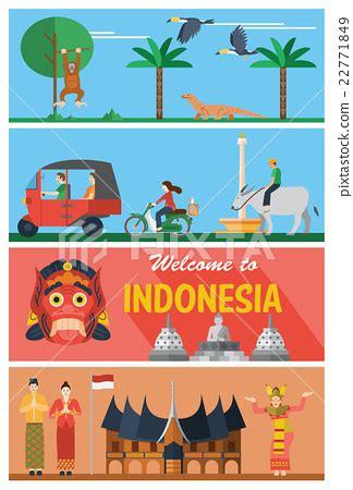 flat design indonesia flat design indonesia landmarks and icons stock