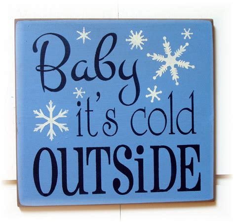 typography signs items similar to baby it s cold outside wood typography sign on etsy