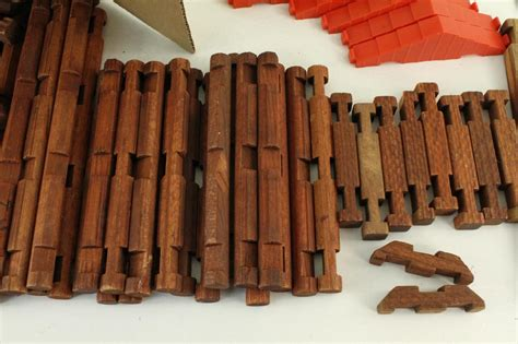 square lincoln logs vintage 1950s wood wooden playskool original lincoln