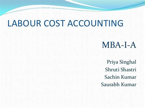 Cost Management Accounting Mba by Labour Cost Accounting