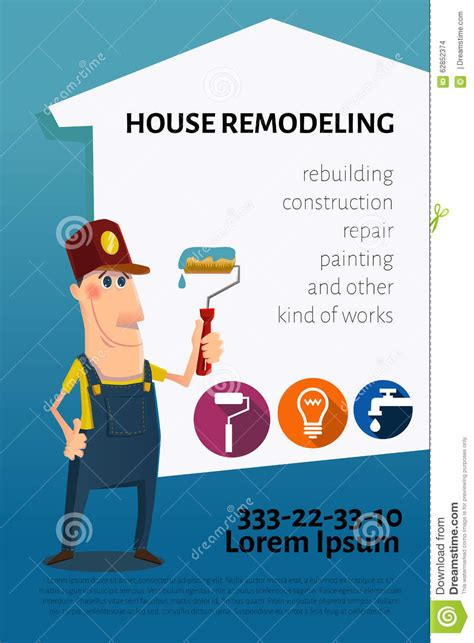 house renovation business house remodeling business card or banner stock vector image 62852374