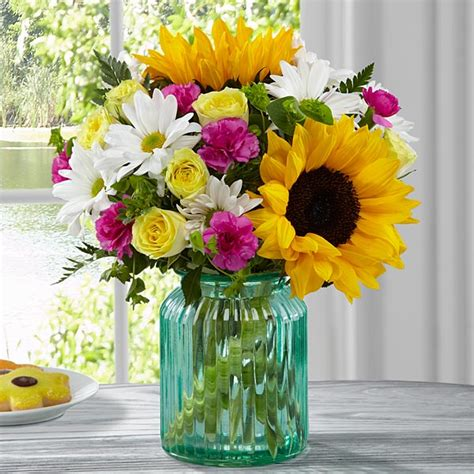 Vase Of Sunflowers Ftd Sunlit Meadows Bouquet By Better Homes And Gardens At