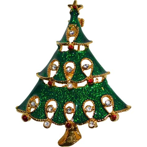 green enamel rhinestone christmas tree pin brooch from