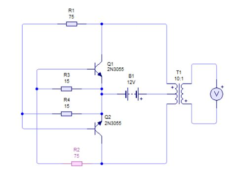 transistor 2n3055 circuit need help on 2n3055 12v dc to 220v ac inverter circuit electrical engineering stack exchange