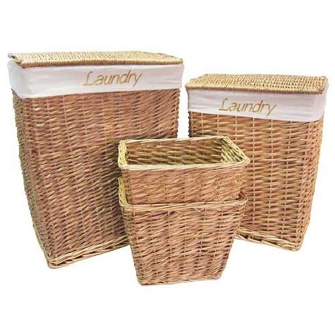 wicker willow laundry bathroom storage basket sets with