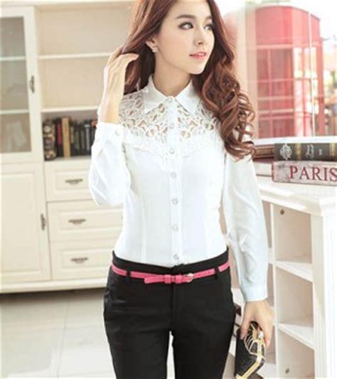 Tas Bahu Import Tas Bahu Wanita Kombinasi kemeja wanita putih brokat lengan panjang model terbaru