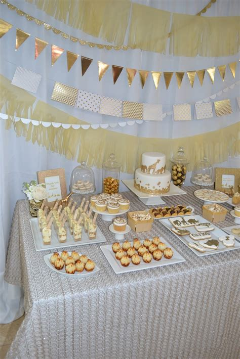 White And Gold Baby Shower Theme by Partylicious Events Pr Golden Safari Baby Shower