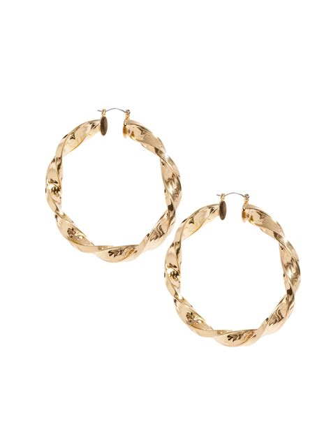 Asos Hoop Earring In Gold by Asos Large Twisted Hoop Earring In Gold Lyst