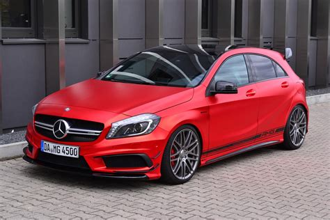 pink mercedes amg mercedes benz a45 amg gets wrapped in wonderful red matte