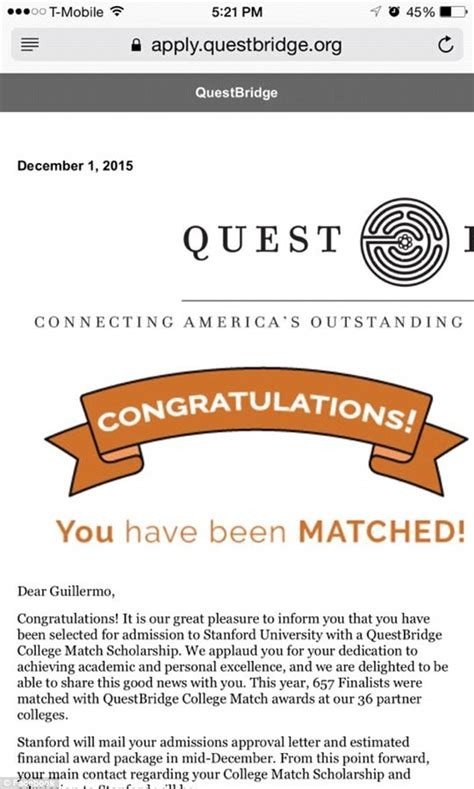 Questbridge Acceptance Letter Chicago S Dentist Told Him He Got Into Stanford Because He Was Poor Daily