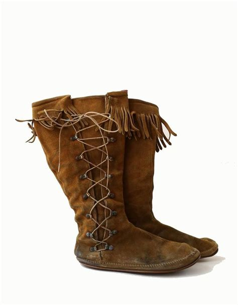 mens fringe boots mens minnetonka moccasin boots sole brown leather