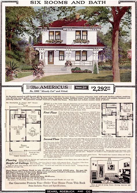 sears floor plans americus 1923 sears kit homes artistic eclectic craftsman foursquare plan