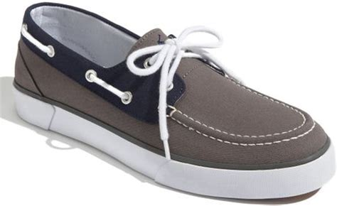 white and blue polo boat shoes polo ralph lauren lander boat shoe in blue for men grey