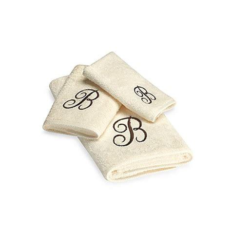 monogrammed bath towels avanti premier brown script monogram bath towel collection in ivory bed bath beyond
