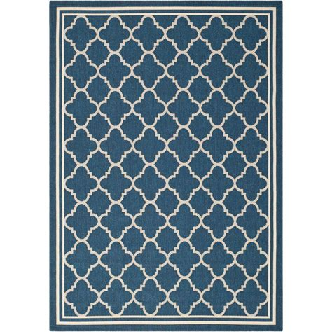 9 X 12 Indoor Outdoor Rugs by Safavieh Courtyard Navy Beige 9 Ft X 12 Ft Indoor