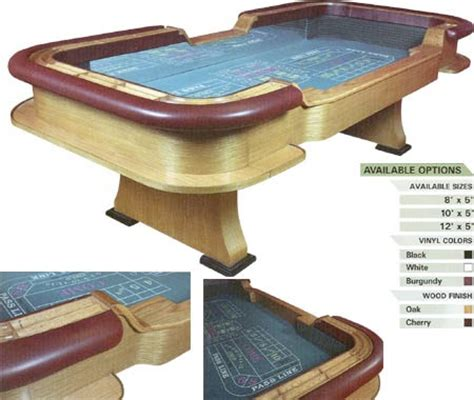craps table dimensions 8 10 and 12 ft craps tables casino quality craps tables with many felt wood colors
