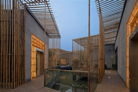 Living And Dining Partition glass balustrading lighting floating bamboo courtyard