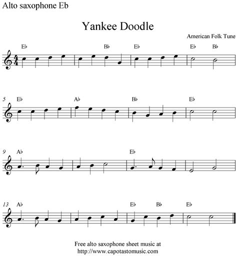free printable sheet music alto sax yankee doodle free alto saxophone sheet music notes