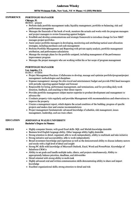 portfolio manager resume sles velvet