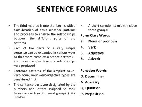 sentence pattern formula structural analysis of english syntax