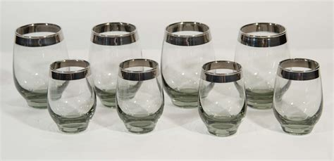 crystal barware sets set of 8 vintage barware glasses in smoked crystal and
