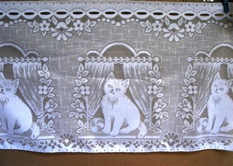 Cat Kitchen Curtains Vintage Blinds Curtains White Kitchen Curtains Lace Cats A Unique Product By Max2x On Dawanda
