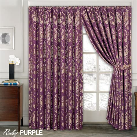 luxury drapes ready made luxury jacquard curtains fully lined ready made tape top pencil pleat curtains ebay