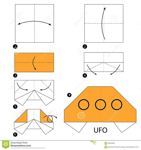How To Make A Paper Ufo - step by step how to make origami ufo stock