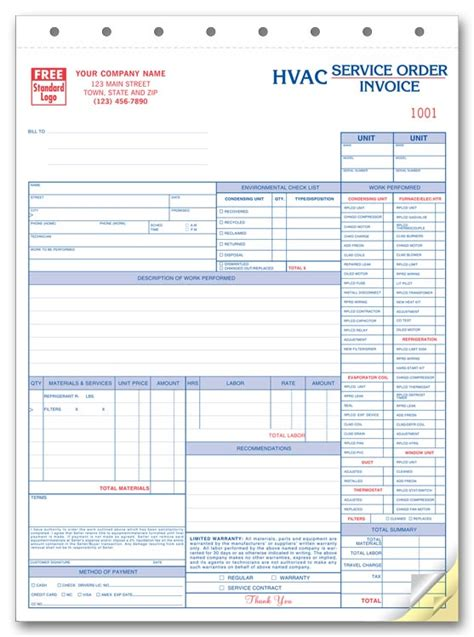 free hvac invoice template hvac invoice template free to do list