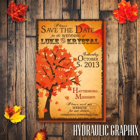 fall tree save the date fall wedding invitation fall tree - Fall Wedding Invitations And Save The Dates