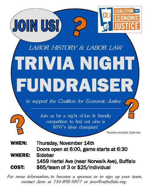 trivia flyer template free trivia fundraiser to support coalition for economic
