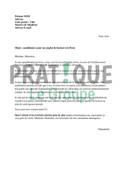 Lettre De Motivation Poste Facteur Lettre De Motivation Pour Un Emploi De Facteur 224 La Poste Pratique Fr