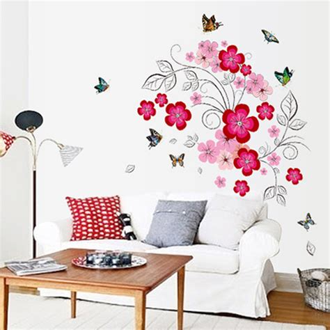 Wall Stickers Beautiful Fairies Interior Home Wall Pink Flower Beautiful Colorful Butterfly Wall