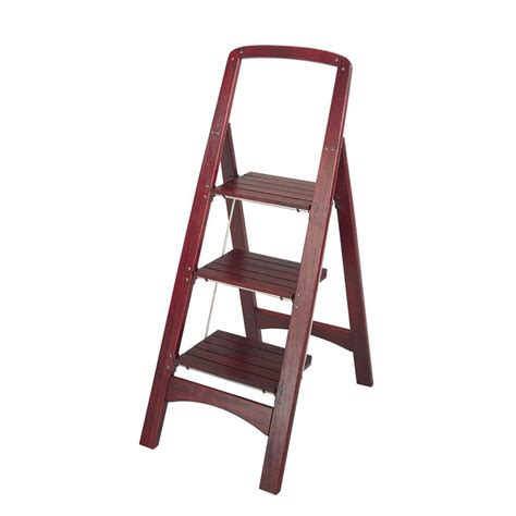 cosco rockford 3 step mahogany wood step stool ladder with