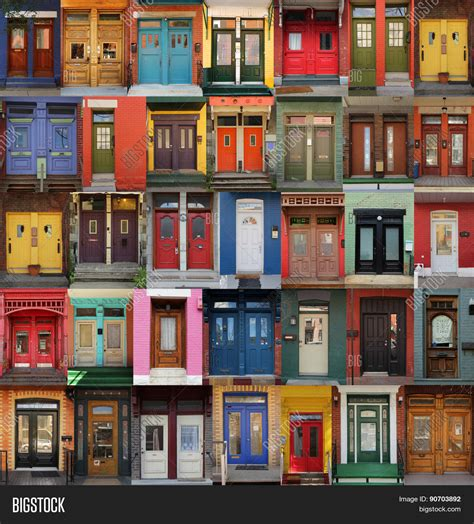 colorful doors collage old colorful doors montreal image photo bigstock